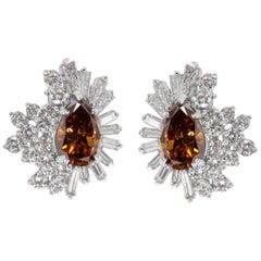 IGI Certified Estate Pear Diamond Fashion Earrings in Platinum (7.14 Carats)