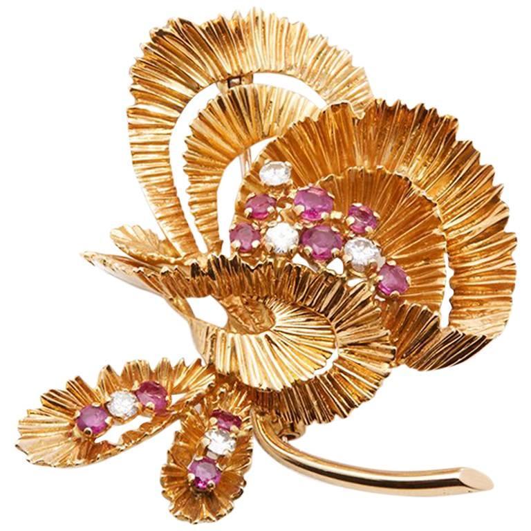 Kutchinsky Ruby Diamond Vintage Brooch