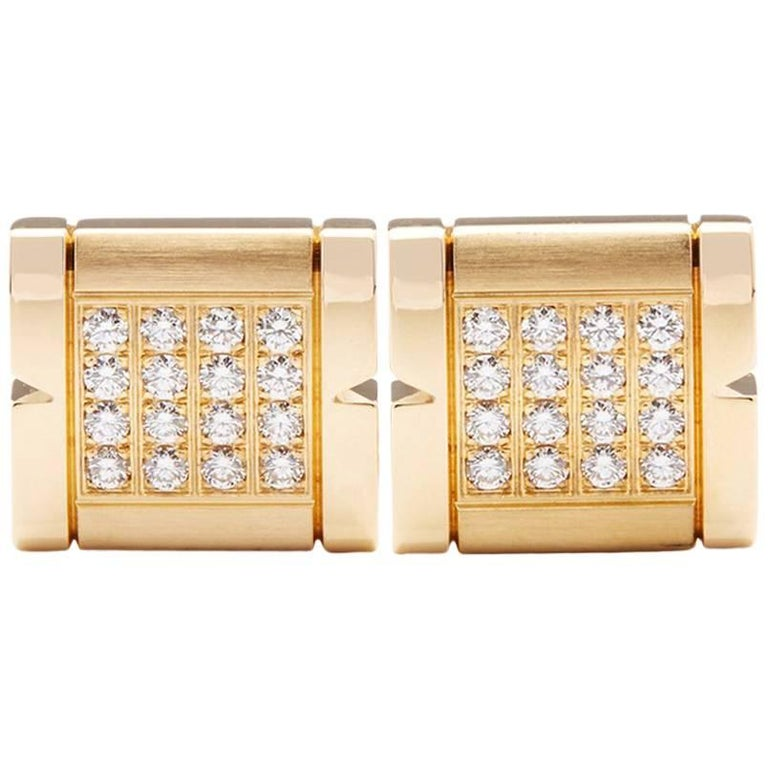 Cartier Diamond Tank Francaise Cufflinks