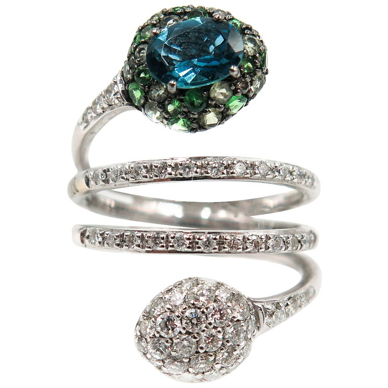 Blue, Green Tourmaline and Diamond White Gold Ring by Brumani