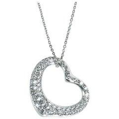 Tiffany & Co. Elsa Peretti Diamond Heart Necklace in Platinum, 2.00 Carats