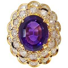 Amethyst and Diamond Yellow Gold Ruffle Ring