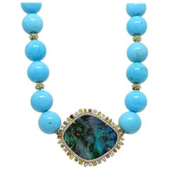 Pamela Huizenga 42.24 Carat Opal and Turquoise Bead Necklace