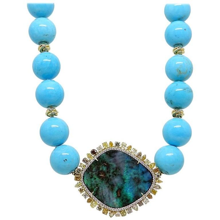 Pamela Huizenga 42.24 Carat Opal and Turquoise Bead Necklace
