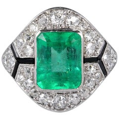 Certified Colombian Emerald Diamond Rare French Art Deco Ring