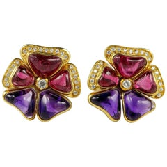 Signed Rubellite Amethyst Diamond Rare Pansy Earrings
