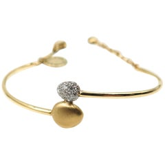 Satin and Diamond pave Bangle Bracelet by Brumani