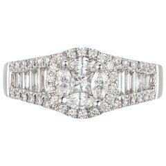 White Gold and Palladium Diamond Ring