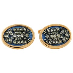 Diamond Enamel and Silver Topped Rose Gold Cufflinks, Imperial Russian Style