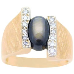 2.50 Carat Black Star Sapphire and Diamond Ring