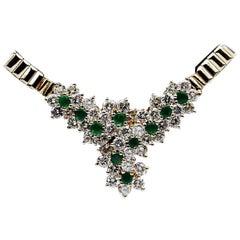 2.00 Carat Round Diamond and Emerald 14 Karat Yellow Gold Necklace
