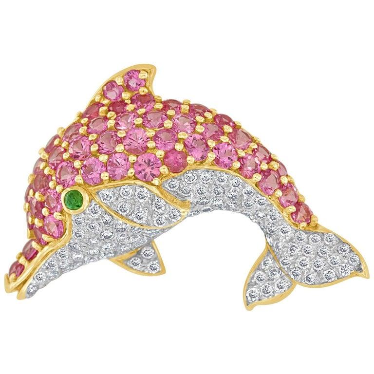 Pink Sapphire and Diamond Dolphin 18 Karat Brooch