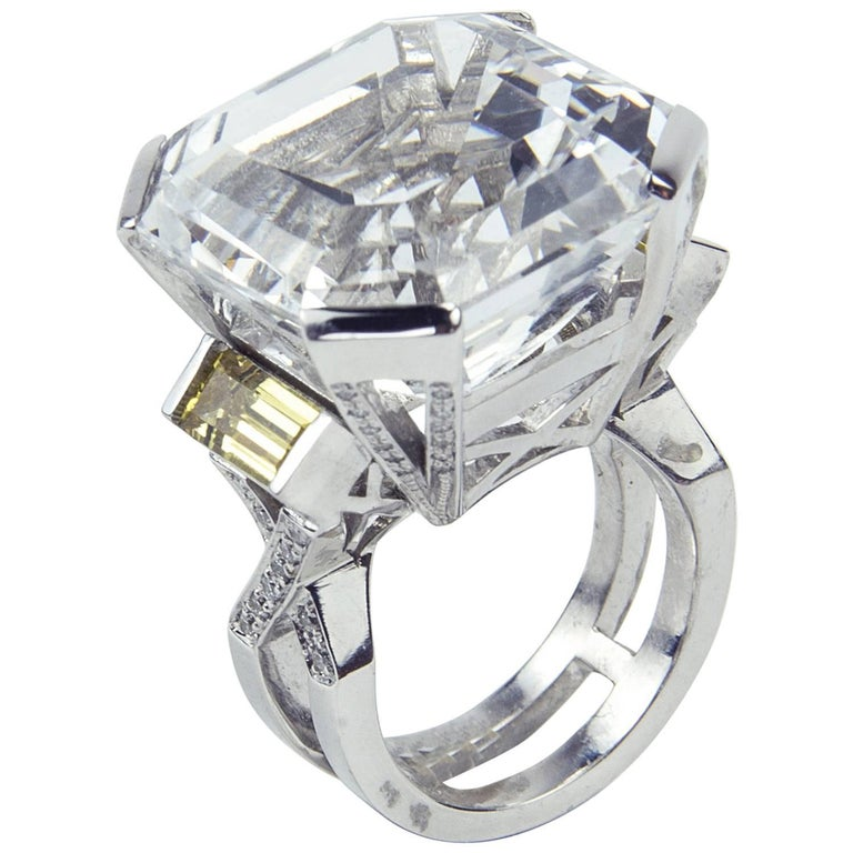 47.40 Carat Asscher Cut White Topaz Diamond Gold Ring 1