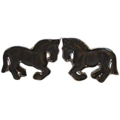 Ebony and 18-Karat White Gold Hand-Carved Horse Cufflinks