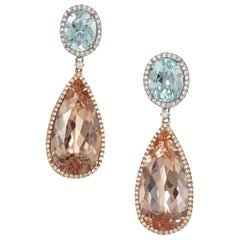 Morganite, Aquamarine and Diamond Rose Gold Earrings