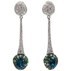 Tourmaline and Diamond Drop Earrings by Brumani