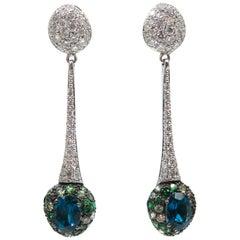 Tourmaline and Diamond Drop Earrings by Brumani
