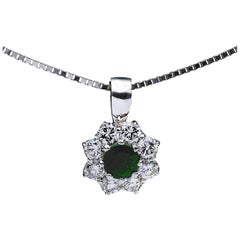 Green Emerald and Diamond Halo 10 Karat White Gold Pendant Necklace