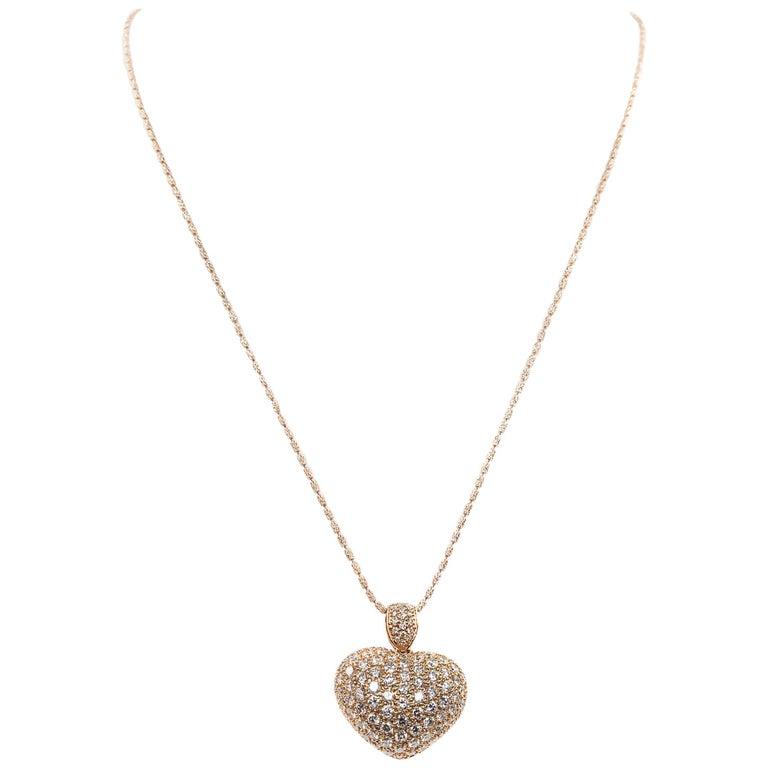 18 Karat Rose Gold Diamond Pave Heart Locket Pendant
