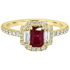Ruby Emerald Cut White Diamond Halo Three-Stone Bridal Fashion Yellow Gold Ring