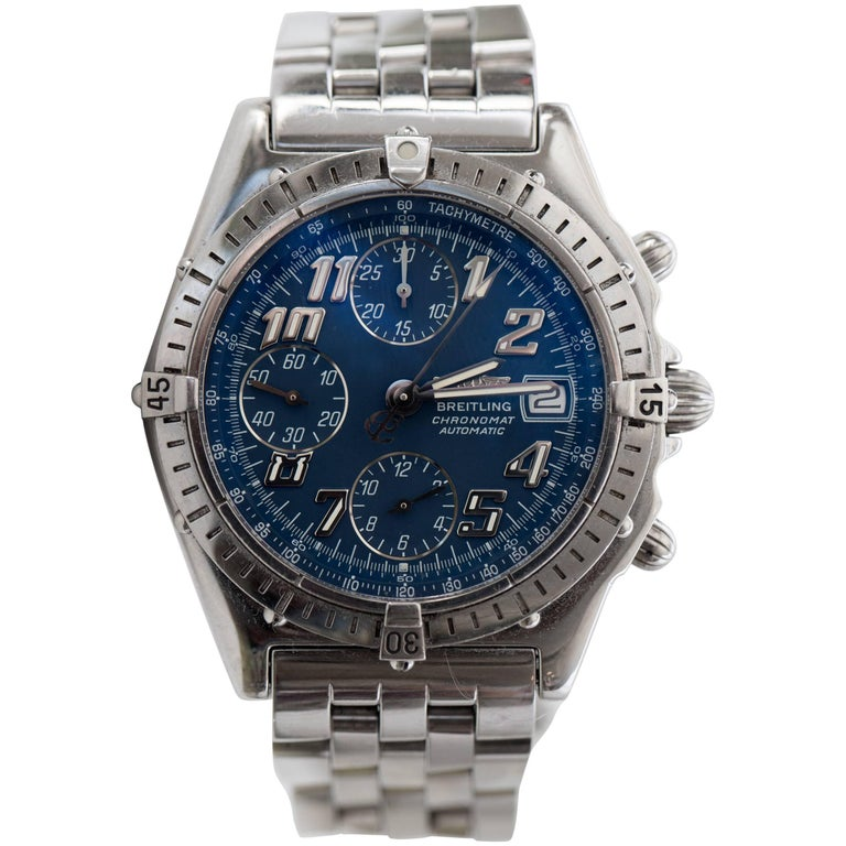 Breitling Stainless Steel Blue Dial Chronomat Chronograph Wristwatch
