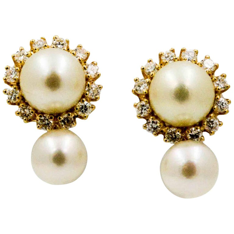 14 Karat Yellow Gold Diamond Pearl Earring Jackets