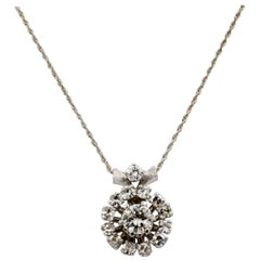 14 Karat White Gold Diamond Pendant Necklace