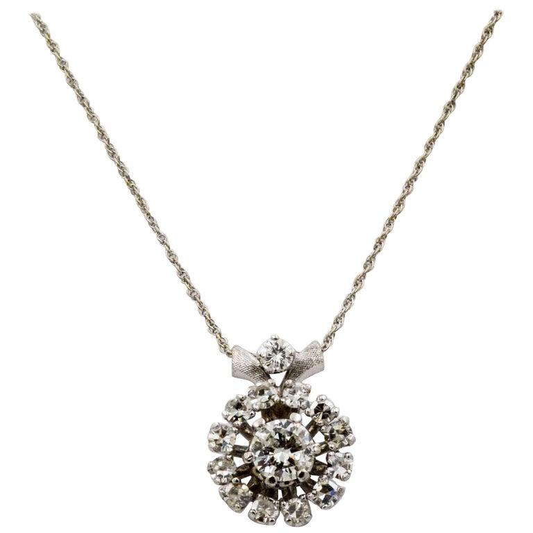 14 Karat White Gold 1.13 ctw Diamond Pendant Necklace