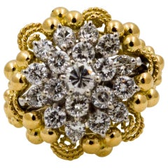 2.0 ctw Diamond Cluster 14 Karat Yellow Gold Ring