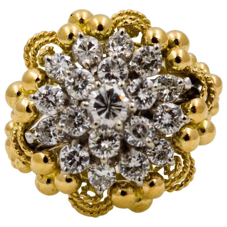 2.0 ctw Diamond Cluster 14 Karat Yellow Gold Ring