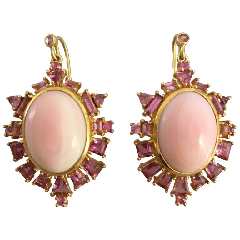 Lauren Harper Collection Pink Coral, Pink Sapphire, Gold Statement Drop Earrings