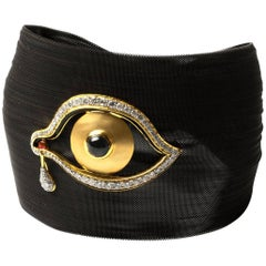 Clarissa Bronfman Diamond and Sapphire Black 'Dali Eye Mesh' Bracelet