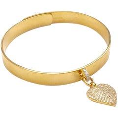 Gold Bangle with Diamond Heart