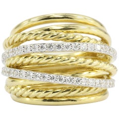 David Yurman Crossover Rope Domed 18 Karat Yellow Gold Diamond Band