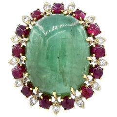 Green Emerald, Ruby and Diamond Brooch Pin