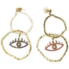 Gold, Ruby, Sapphire Double Hoop Earrings