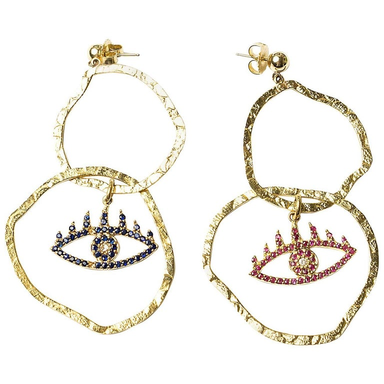 Clarissa Bronfman Gold, Ruby, Sapphire Double Hoop Earrings