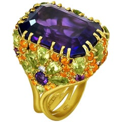 Amethyst Sapphire Peridot Garnet Diamond Gold Ring One of a Kind