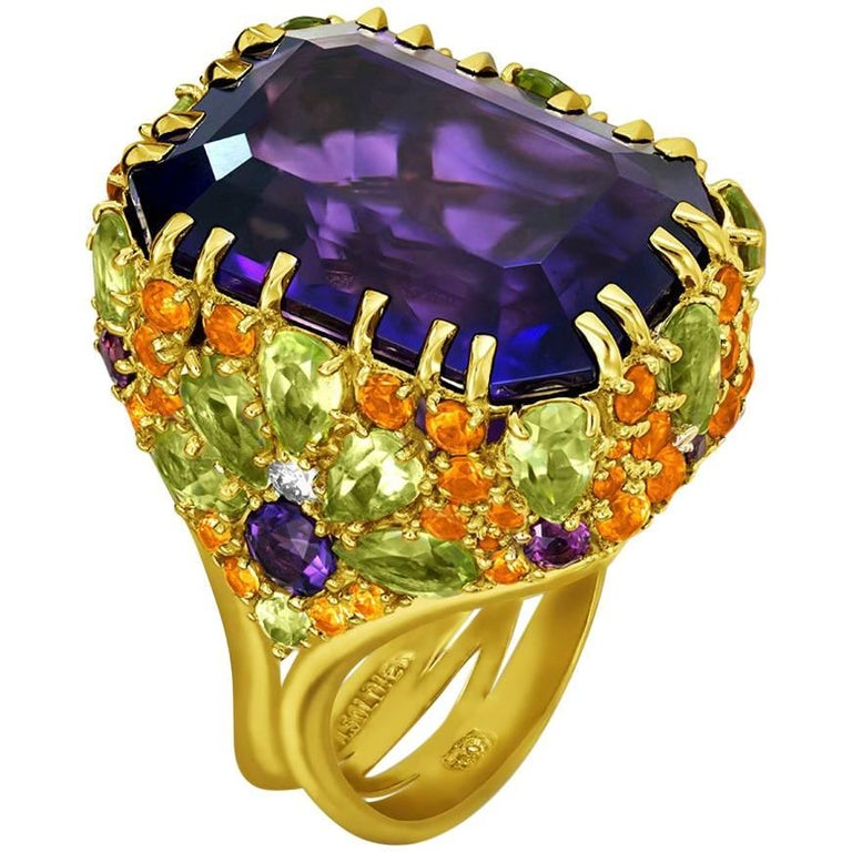 Amethyst Sapphire Peridot Garnet Diamond Gold Ring For Sale