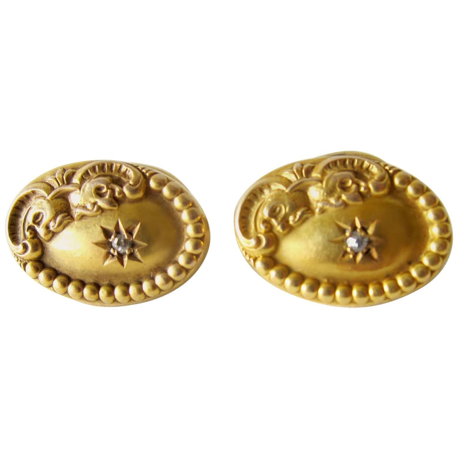 Victorian 10k Gold Diamond Ornate Oval Cufflinks