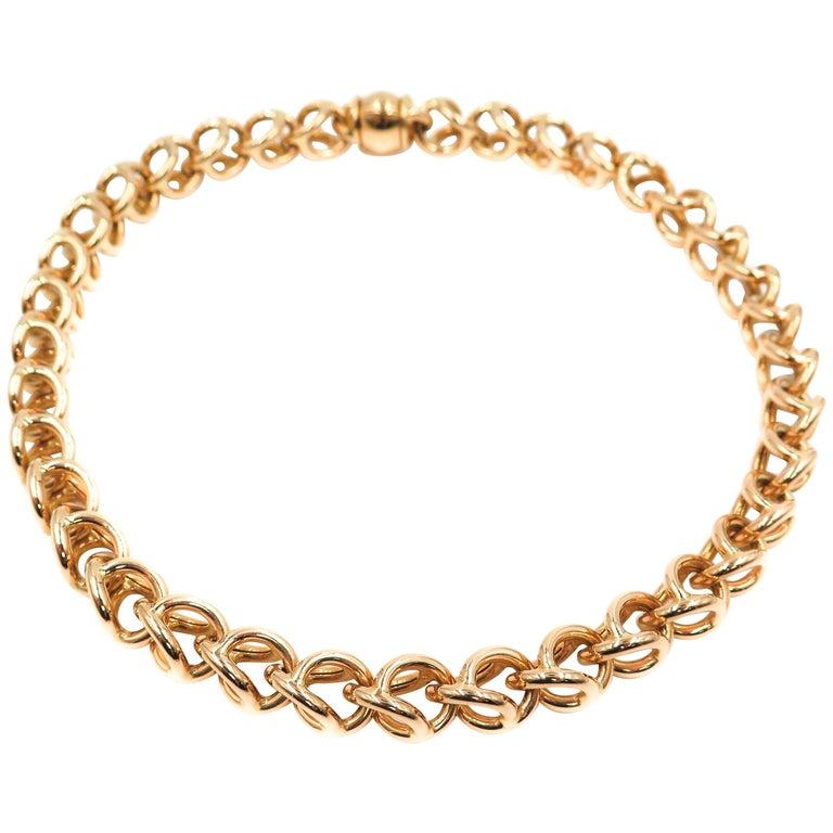 18 Karat Yellow Gold Open Link Necklace