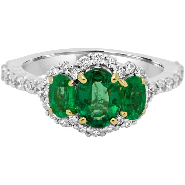 Emerald Diamond Three-Stone Halo Two-Color Gold Ring