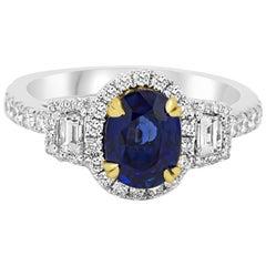 Sapphire Diamond Three-Stone Halo Two Color Gold Ring