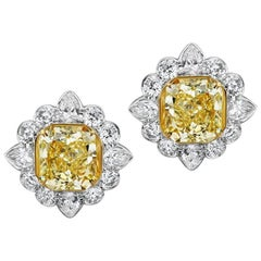 Scarselli Fancy Yellow and White Diamond Earrings in Platinum GIA Certified