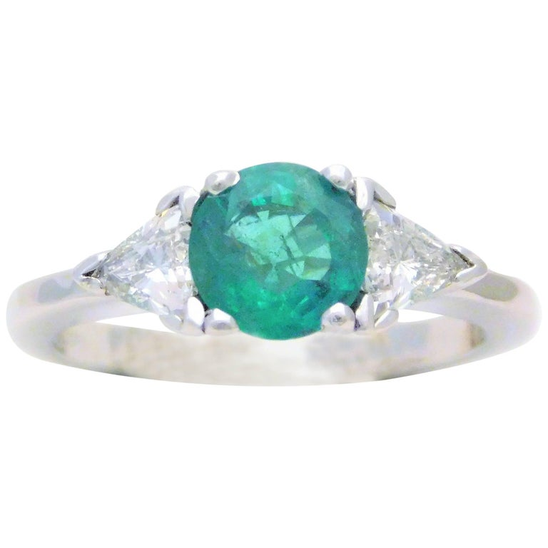 Vintage Natural 1.70 Carat Emerald and Diamond Dinner Ring