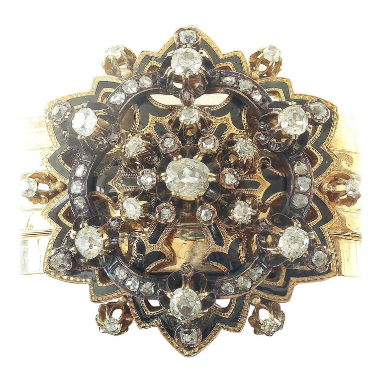 19th Century Victorian Diamond Enamel Gold Bracelet