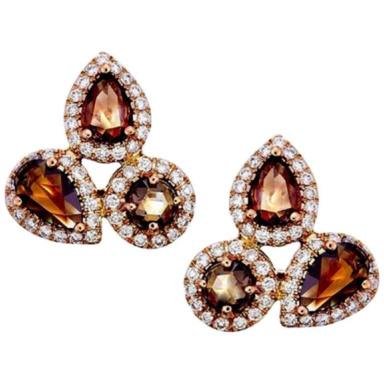 3.06 Carat Brown and White Diamond Earrings
