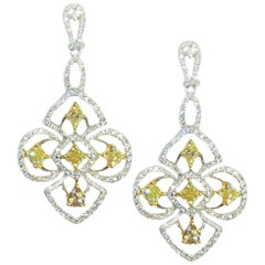 2.87 Carat White and Yellow Diamond Earrings