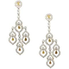 6.52 Carat Diamond Chandelier Evening Earrings