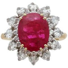 1980s 4.80 Carat Burmese Ruby and 2.80 Carat Diamond 18 Karat Gold Ring